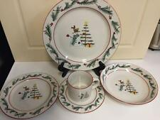 Farberware HOLIDAY SNOWMAN 5 pc Plate Setting Christmas Dishes frm 2000 Preowned