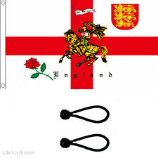St George Charger Flag 5 x 3ft . Comes With FREE  BALL TIES. Red Rose Lion