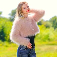 BEIGE Hand Knitted Mohair Sweater BOLERO Cropped Jacket Cardigan by SUPERTANYA