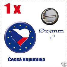 Badge Ø25mm Pays de l'europe des 28, drapeau en forme de coeur Česká Republika