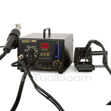 AOYUE 968 Hot Air Soldering Station with Soldering Iron and Smoke Absorber 220V