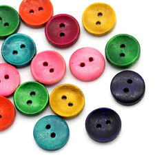 100 Mixed Color Wooden Buttons 15mm 5/8 inch 2 Hole - Wood Button 23788