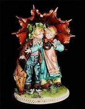 Capodimonte Italian Porcelain Figurine TIZIANO GALLI, Boy Girl Umbrella Deposee