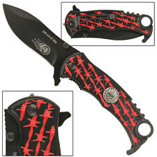 Run Out Of Hell Barb Wire Assisted Folding Safety Locking Emergency Knife-Black