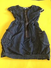GIRLS DKNY Cutest Denim Zip up Easy Comfy Short Sleeve Mid Length Dress Size 4