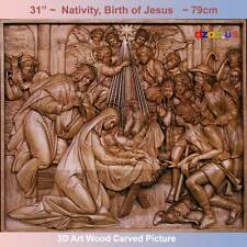 "36"" Nativity, Birth of Jesus Carved Wood 3D The bible  icon orthodox picture"