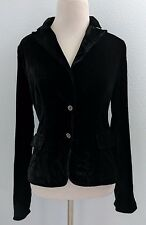 Tahari Black Velvet Jacket Blazer Silk Blend Two Snap Button Lined Sz XS/TP EUC