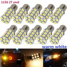 10X Warm White 1156 RV Camper Trailer 27 SMD LED 1141 1003 Interior Light Bulbs