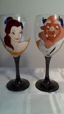 Hand Painted Beauty and the Beast Pair of Washable Wine Glass Glasses 2 pcs UK