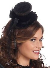 Black Mini Top Hat Steampunk Burlesque Cosplay  Adult Size