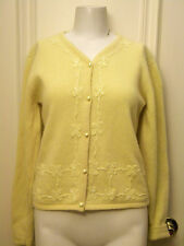 Cousin Johnny wool blnd cardigan butter yellow M tonal embroidery beading V neck