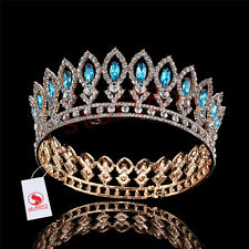 Queen/King Marquise Turquoise Rhinestone Full Crown Gold Plated Prom Headbands