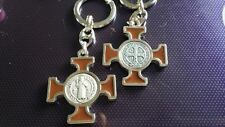 St Benedict keyring brown enamel with silver colour Catholic Vatican City