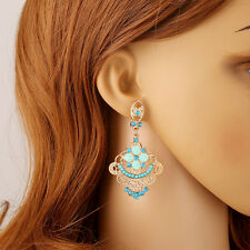 BOUCLE D'OREILLE ORIENTAL BOLLYWOOD BLEU STRASS DORE OR BOFA167