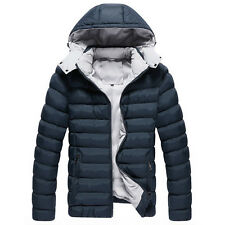 Men Men's Winter Hooded Padded Coat Warm Jacket Ski Overcoat Parka Outwear Tops