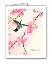 CHERRY BLOSSOMS Set of 10 HUMMING BIRD Note Cards With Envelopes
