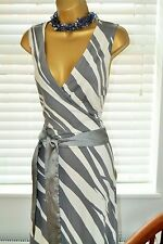 Stunning H&M Grey Stripe Dress Size 40 UK 12 - 14