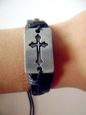 Catholic cross cowhide bracelet Men's Women Religion Gift Present Rosary