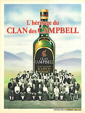 PUBLICITE ADVERTISING 015  1982  WHISKY   CLAN CAMPBELL l'héritage