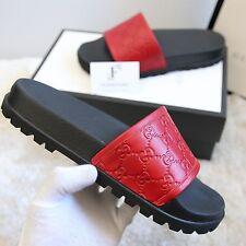 AUTH BNIB GUCCI Men's Red Monogram Slides Sandals Shoes Size 9 (US 9.5 UK 8.5)