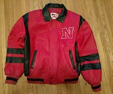 College Phase Nebraska Football Red/Black Leather Coat Jacket Large Go Big Red!!