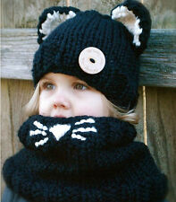 Toddler Kids Fox Hooded Scarf Hat Warm Winter Knitted Crochet Cap Baby's Gifts