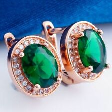 Pretty New Classic Rose Gold Plated Oval Shaped Emerald Green CZ Hoop Earrings