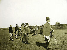 Golf Course Golfing GOLFERS LISTENING for the BALL 1899 Antique Art Print Matted