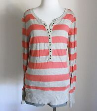 ROXY Juniors Striped Ribbed Stretch Fitted Henley Tunic Tee Shirt Top Blouse XL