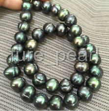 stunning tahitian 10-11mm peacock green pearl necklaces18inch 14k