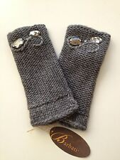 Portolano Womans Knit Fingerless GLOVES Mittens Arm Warmer Gray with STONES