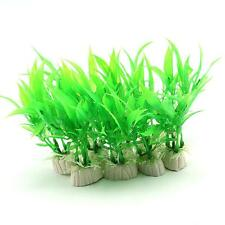 10 Piece Green Plastic Aquarium Tank Plants Grass Decoration TMPG