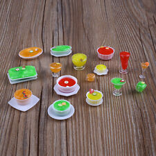 17pcs/Set Dollhouse Mini Transparent Cups Dish Plate Tableware Miniatures