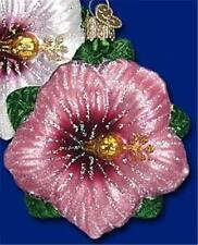 PINK HIBISCUS OLD WORLD CHRISTMAS PAINTED GLASS FLOWER GARDENING ORNAMENT 36148