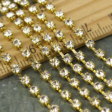2.8mm Clear Rhinestone Chain Solid Brass Chain FREE Connector c24 (4ft)