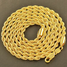 Mens 9K Yellow Gold Filled Rope Chain Necklace 24 Inch 4MM Hip Hop Jewelry
