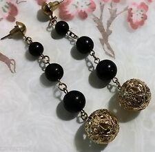 ANCIEN BIJOU BOUCLES D'OREILLES perles NOIR métal doré vintage earrings B71