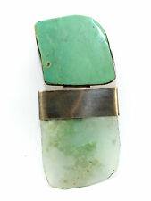 BIG STUNNING Vtg Modernist REBECCA COLLINS Sterling Silver TURQUOISE Pin Pendant