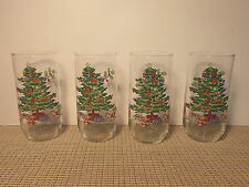 Tienshan Dinnerware Holiday Hostess Pattern Set of 4 Glass Tumblers 5 7/8""