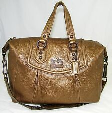 AUTH   COACH METALLIC BROWN LEATHER ASHLEY/SABRINA  LARGE SATCHEL SHOULDER BAG