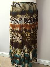 Marks & Spencer Long Flared Brown Yellow Green Print Skirt - Size 12 ** NEW **
