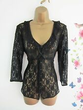Per Una Black Lace Top/Blouse Size 10