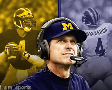 JIM HARBAUGH MICHIGAN WOLVERINES PLAYER - COACH 8x10 PHOTO ~ GO BLUE!