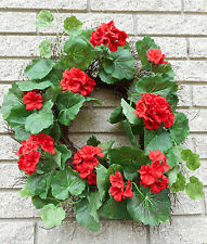 "22"" Spring Summer Red Geranium Floral Vine Wreath"