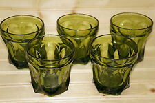 Anchor Hocking Fairfield Lot of (5) Old Fashioned Avocado Green Glasses, 3½""