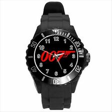 NEW* HOT JAMES BOND 007 RED LOGO Unisex Black Round Sport Wrist Watch