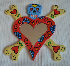 Red Heart Wall Hanging Mirror Skull Cross Bones floral valendtines gift present