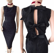 DOLCE & GABBANA D&G black lace back slit bow silk lined hot DRESS size 8 4 40 DG