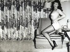 Bettie Page Kneeling on Chair Nude in Black Thi Hi Stockings  5 x 7 Photograph