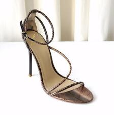 BRIAN ATWOOD Womens Taupe Snakeskin High-Heel Strappy Ankle-Strap Sandal Pump 8